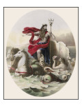 Riding the Waves in His Horse- Drawn Chariot, Saluted by Tritons as He Passes Giclee Print