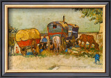Caravans Encampment of Gypsies Print by Vincent van Gogh