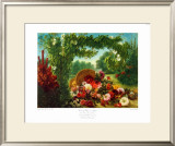Floral Basket in a Park Poster by Eugene Delacroix