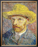Self-Portrait with a Straw Hat, c.1888 Framed Giclee Print by Vincent van Gogh