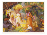 Martinique: Colourful Scene at the Fort De France (Fruit Market) Giclee Print