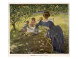 Mama Sits Reading Her Book While the Children and Dog Play at a Tea-Party on the Lawn Giclee Print