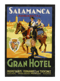 Label from the Gran Hotel, Salamanca (Spain) Featuring Typical Spanish Folklore Figures Gicléetryck