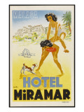 Label from the Hotel Miramar, Malaga, (Spain) Invites You to Fun and Games on the Beach Giclee Print