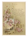 My Voice Shalt Thou Hear-- Text with Floral Ornament and a Rustic Scene Giclee Print