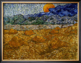 Landscape with Wheat Sheaves and Rising Moon Framed Giclee Print by Vincent van Gogh
