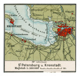 Map of St Petersburg and Surrounding Area, Russia Giclee Print
