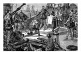 Lord Howard of Effingham on the Quarterdeck of the Ark Royal Giclee Print