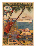 Poster Advertising Messageries Maritimes Giclee Print