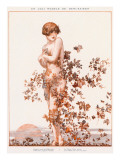 Naked Young Woman with Autumn Leaves Swirling around Her Giclee Print