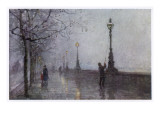 On the Thames Embankment - the Lamplighter Lights the Last of the Gas Lamps Giclee Print