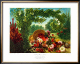 Floral Basket in a Park Prints by Eugene Delacroix