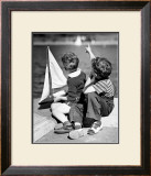 Two Boys with Sail Boat Framed Giclee Print