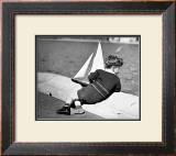 Boy with Sail Boat Framed Giclee Print