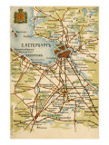 Map Saint Petersburg, Giclee Print