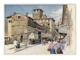 On the Ponte Vecchio - Shops and Passers-By Giclee Print