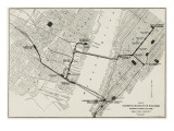 Map of the Hudson and Manhattan Railroad Subway System in New York, America Giclee Print