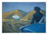 New Mexico Patrolman Sees a Landed UFO and Two Occupants Giclee Print by Michael Buhler