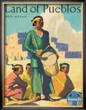 Santa Fe Railroad: Land of Pueblos, c.1950's Framed Giclee Print