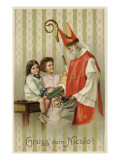 Saint Nicolas of Myra Depicted as Santa Claus, Distributing Presents to Children Giclee Print