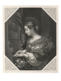 Saint Cecilia Roman Saint and Martyr, Patron Saint of Musicians, Playing a Portative Organ Giclee Print
