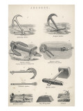 Six Different Kinds of Anchor, a Mooring Block and a Grapnel Giclee Print