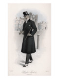 Shifty-Looking Gentleman Wears a Double-Breasted Waisted Overcoat Giclee Print