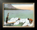 Surfboard Riding Framed Giclee Print