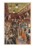 The Interior of a Canadian Pacific Railway Coach, Filled with Settlers Travelling West Giclee Print