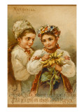 Russian Girls with Flowers Giclee Print