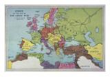 Mapa de Europa on Eve de Mundo guerra One Lámina giclée