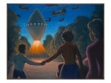 See 'A Diamond of Fire' over the Road Ahead of Them, UFOs Giclee Print by Michael Buhler