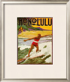 Surfing Honolulu Framed Giclee Print