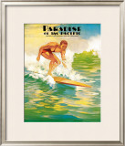 Paradise of Pacific, Surfer Framed Giclee Print