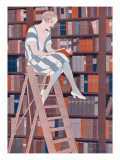 The Blue Stocking, by Reginald Higgins Giclee Print