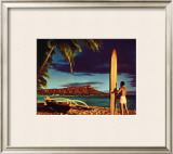 Outrigger and Diamond Head Framed Giclee Print by Stewart Fern
