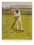 The Legendary Cricketer, Dr. W.G. Grace Poised with His Bat Reproduction procédé giclée