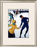 Winter in Davos Framed Giclee Print by Burkhard Mangold