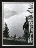 Praying to the Spirits at Crater Lake, Klamath Poster by Edward S. Curtis