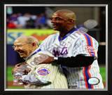 Yogi Berra & Darryl Strawberry Final Game at Shea Stadium 2008 Framed Photographic Print