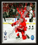 Mikael Samuelsson Celebrates his Goal during Game 1 of the 2008 NHL Stanley Cup Finals; 5 Framed Photographic Print