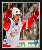 Jiri Hudler Celebrates his Game Winning Goal in Game 4 of the 2008 NHL Stanley Cup Finals Framed Photographic Print
