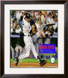 Derek Jeter connects for his 1,270th hit at Yankee Stadium Framed Photographic Print