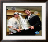 Sidney Crosby & Mario Lemieux Game 7 - 2008-09 NHL Stanley Cup Finals With Trophy Framed Photographic Print