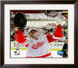 Mikael Samuelsson with the Stanley Cup, Game 6 of the 2008 NHL Stanley Cup Finals; 37 Framed Photographic Print