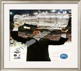 Mario Lemieux Game 7 - 2008-09 NHL Stanley Cup Finals With Trophy Framed Photographic Print
