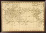 World Mercator's Projection, c.1812 Framed Giclee Print by Aaron Arrowsmith
