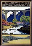 Elekktr Strassenbahnen im Kanton Zug Framed Giclee Print by Ernst Emil Schlatter