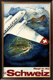 Fliegt in die Schweiz Framed Giclee Print by Eugen Häfelfinger