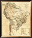 South America, c.1814 Framed Giclee Print by Aaron Arrowsmith